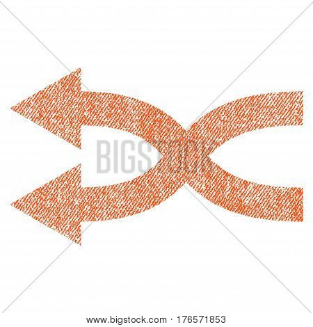 Shuffle Arrows Left vector textured icon for overlay watermark stamps. Fabric orange vectorized texture. Symbol with dirty design. Rubber seal stamp with fiber textile structure.