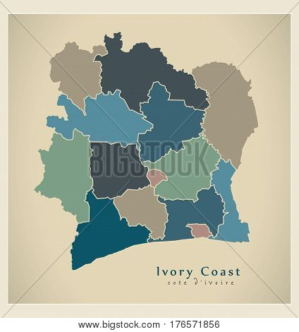 Modern Map - Ivory Coast With Districts Colored Ci Illustration Silhouette