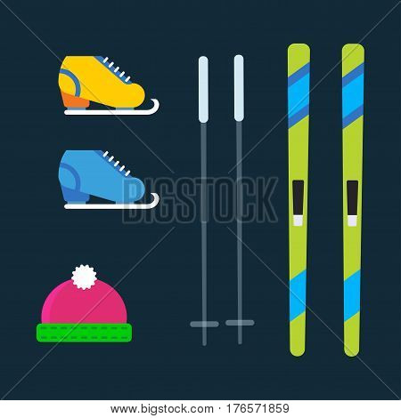 Skiing winter season equipment vector illustration. Fun skiing, skating holiday extreme outdoor slope active. Tourism adventure speed action lifestyle. Sport clothes tools elements.