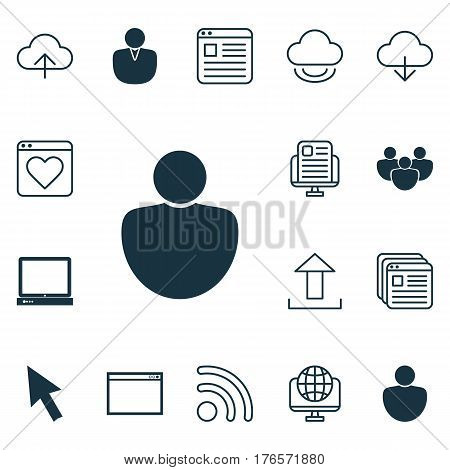 Set Of 16 Web Icons. Includes Program, Website Bookmarks, Blog Page And Other Symbols. Beautiful Design Elements.