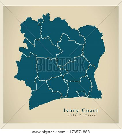 Modern Map - Ivory Coast With Districts Ci Illustration Silhouette