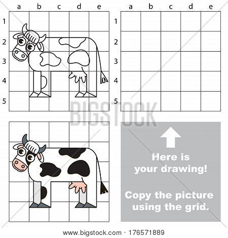The Cow to be duplicated using grid sells. Drawing tutorial to educate preschool kids with easy kid educational gaming and primary education of simple game level of difficulty.