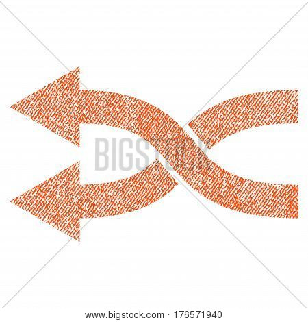 Shuffle Arrows Left vector textured icon for overlay watermark stamps. Fabric orange vectorized texture. Symbol with scratched design. Rubber seal stamp with fiber textile structure.