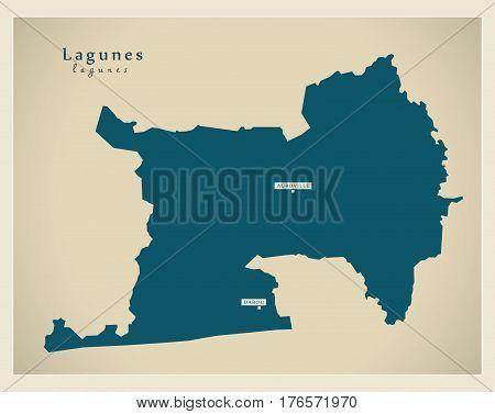 Modern Map - Lagunes Ci Illustration Silhouette