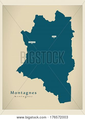 Modern Map - Montagnes Ci Illustration Silhouette