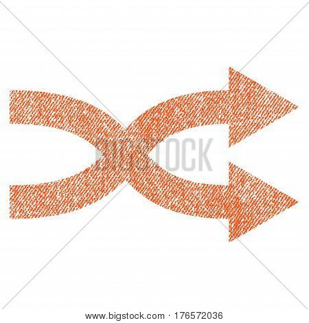 Shuffle Arrows Right vector textured icon for overlay watermark stamps. Fabric orange vectorized texture. Symbol with scratched design. Rubber seal stamp with fiber textile structure.