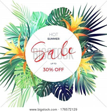 Bright tropical sale flyer template with palm leaves and flowers. Vector illustration.