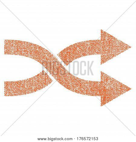 Shuffle Arrows Right vector textured icon for overlay watermark stamps. Fabric orange vectorized texture. Symbol with dirty design. Rubber seal stamp with fiber textile structure.