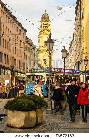 Munich,Germany-December 3,2011:A Streetcar decorated with Christmas ornaments drives through downtown Munich