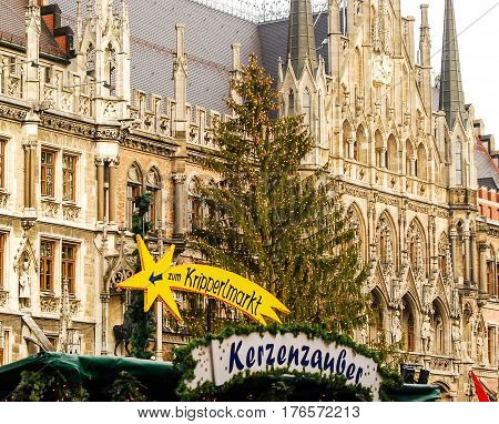 Munich,Germany-December 3,2011: Munich's official Christmas Tree stands in front of Town hall during the Christkindlmarkt Christmas Market