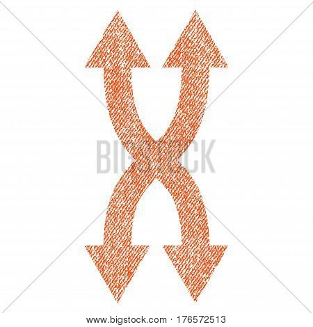 Shuffle Arrows Vertical vector textured icon for overlay watermark stamps. Fabric orange vectorized texture. Symbol with dust design. Rubber seal stamp with fiber textile structure.