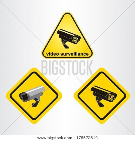 Video surveillance sign. CCTV Camera. Set of signs.