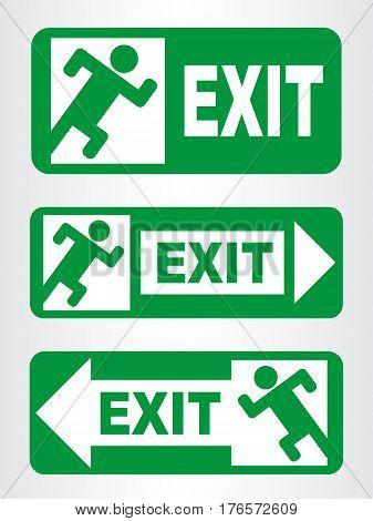 Set of Emergency exit sign. Vector illustration.