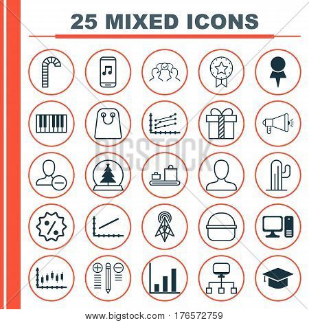 Set Of 25 Universal Editable Icons. Can Be Used For Web, Mobile And App Design. Includes Elements Such As Cooperation, Present Badge, Increase Graph And More.