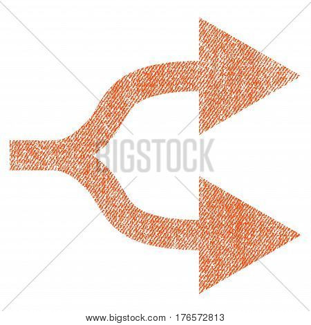 Split Arrows Right vector textured icon for overlay watermark stamps. Fabric orange vectorized texture. Symbol with dirty design. Rubber seal stamp with fiber textile structure.