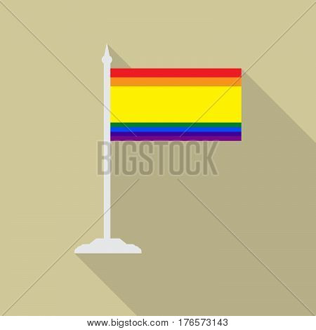 Spain gay pride flag with flagpole flat icon with long shadowt. LGBT community flag.