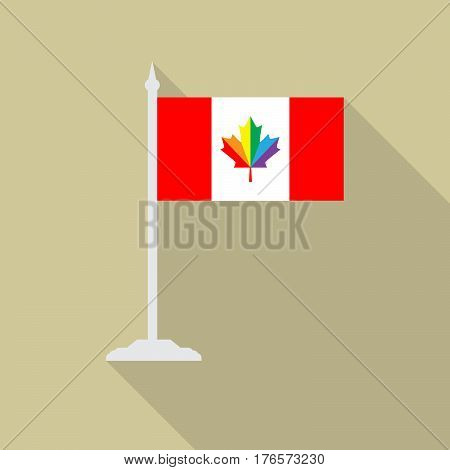 Canada pride LGBT flag with flagpole flat icon with long shadow. Vector illustration EPS10 of a rainbow pride.
