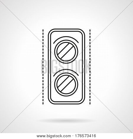 Railroad equipment and objects. Rail traffic light symbol. Signal for trains. Flat black line vector icon.
