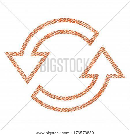 Sync Arrows vector textured icon for overlay watermark stamps. Fabric orange vectorized texture. Symbol with scratched design. Rubber seal stamp with fiber textile structure.