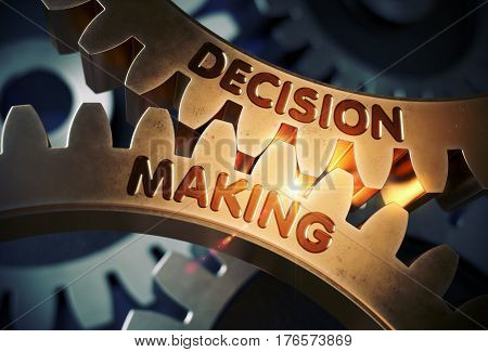 Decision Making - Concept. Decision Making on Mechanism of Golden Metallic Gears with Lens Flare. 3D Rendering.