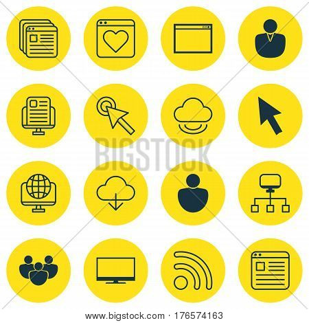 Set Of 16 Online Connection Icons. Includes Website Page, Save Data, Cursor Tap And Other Symbols. Beautiful Design Elements.
