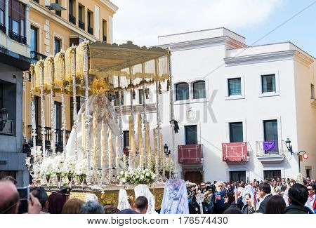 Badajoz Spain - March 27 2016: Statue of the Virgin Mary leaving in procession in holly week in the city of Badajoz Spain