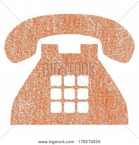 Tone Phone vector textured icon for overlay watermark stamps. Fabric orange vectorized texture. Symbol with scratched design. Rubber seal stamp with fiber textile structure.