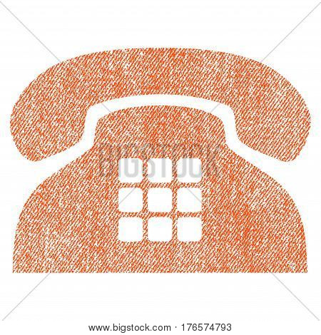 Tone Phone vector textured icon for overlay watermark stamps. Fabric orange vectorized texture. Symbol with dust design. Rubber seal stamp with fiber textile structure.