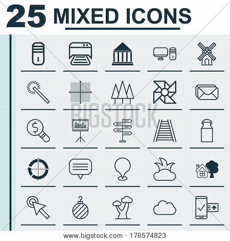 Set Of 25 Universal Editable Icons. Can Be Used For Web, Mobile And App Design. Includes Elements Such As Graphical Grid, Bush, Mailbox And More.