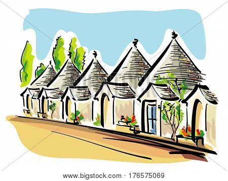 vector illustration of famous worldwide typical houses called Trulli, in the town of Alberobello in Italy