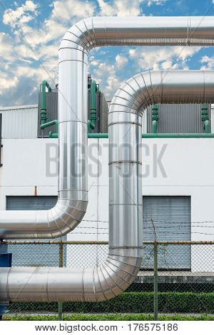 Steam distribution pipeline and insulation cover., Steam pipeline