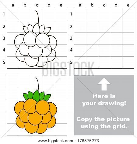 Copy the picture using grid lines. Easy educational game for kids. Simple kid drawing game with Yellow Cloudberry.