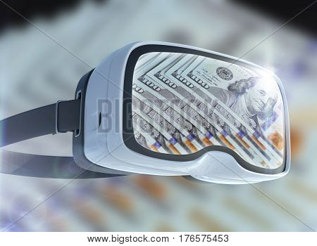 Virtual Reality Glasses, Business, Technology, Internet And Networking Concept