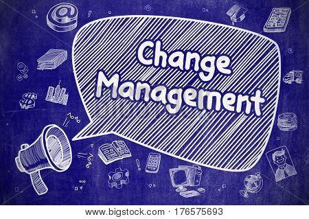 Change Management on Speech Bubble. Cartoon Illustration of Screaming Megaphone. Advertising Concept. Doodle Illustration on Blue Chalkboard.