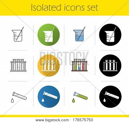 Chemical lab items icons set. Flat design, linear, black and color styles. Tube with liquid drop, test tubes rack, beaker with rod. Chemistry class equipment. isolated vector illustrations