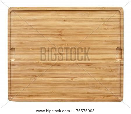 Bamboo cutting board with copy space. High angle view.