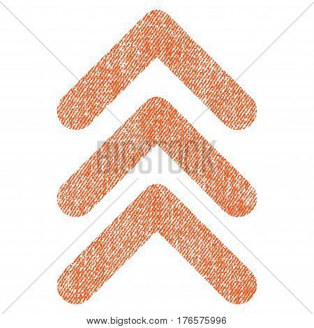 Triple Arrowhead Up vector textured icon for overlay watermark stamps. Fabric orange vectorized texture. Symbol with dust design. Rubber seal stamp with fiber textile structure.