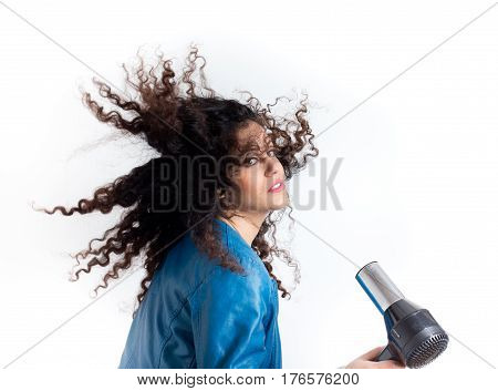 Hairdryer Blowing Curly Hair