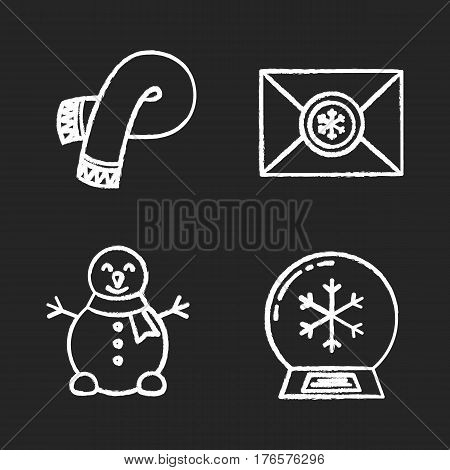 Winter season chalk icons set. Letter to Santa Claus, snowman, snow ball, warm winter scarf. Isolated vector chalkboard illustrations