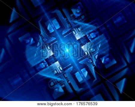 Blue glowing futuristic quantum computer computer generated abstract background 3D rendering
