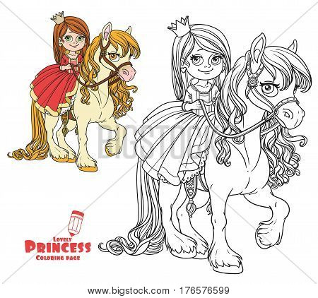 Beautiful Little Princess Riding On Horse Color And Outlined Picture For Coloring Book On White Back