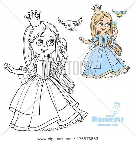 Cute Princess With Long Hair Holds On Finger Little Bird Color And Outlined Picture For Coloring Boo
