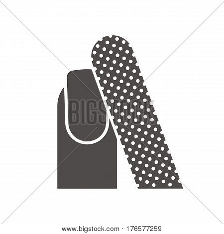Nail filing icon. Manicure silhouette symbol. Woman's nail with file. Negative space. Vector isolated illustration