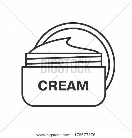 Face cream jar linear icon. Cosmetics. Thin line illustration. Contour symbol. Vector isolated outline drawing