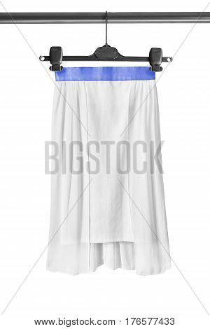 White chiffon skirt on clothes rack isolated over white