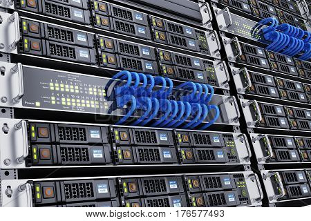 Server room and network cable. 3d illustration