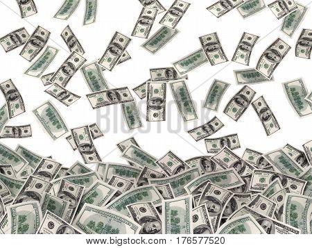 many much money on white background. 3d illustration