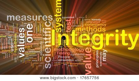 Background concept wordcloud illustration of integrity glowing light poster