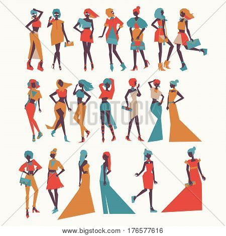 Vector fashion girls in different apparel - evening dresses casual look various poses and accesories. Bright illustration for vogue and fashion purposes in vivid colors isolated on background