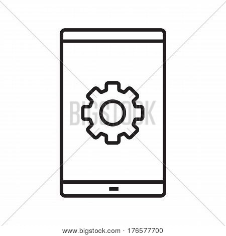 Smartphone settings linear icon. Thin line illustration. Preferences. Smart phone with cogwheel contour symbol. Vector isolated outline drawing